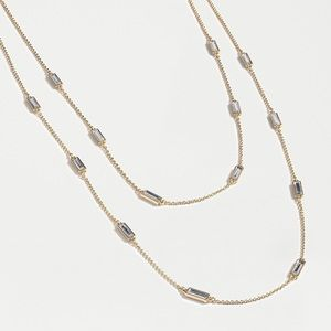 JCREW Pave' Baguette Necklace NWT OS Crystal